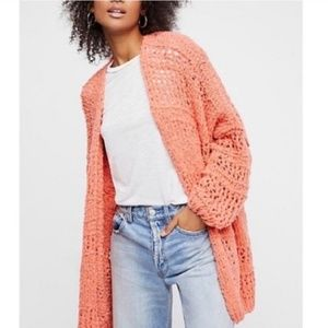 Free People Saturday Cardigan Coral size M/L NWT